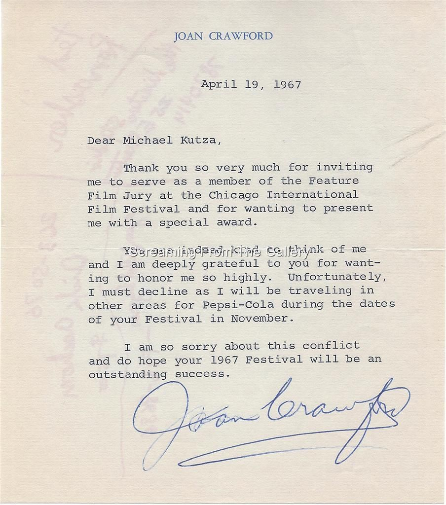 Joan Crawford Hand Signed Letter  Blast From The Past