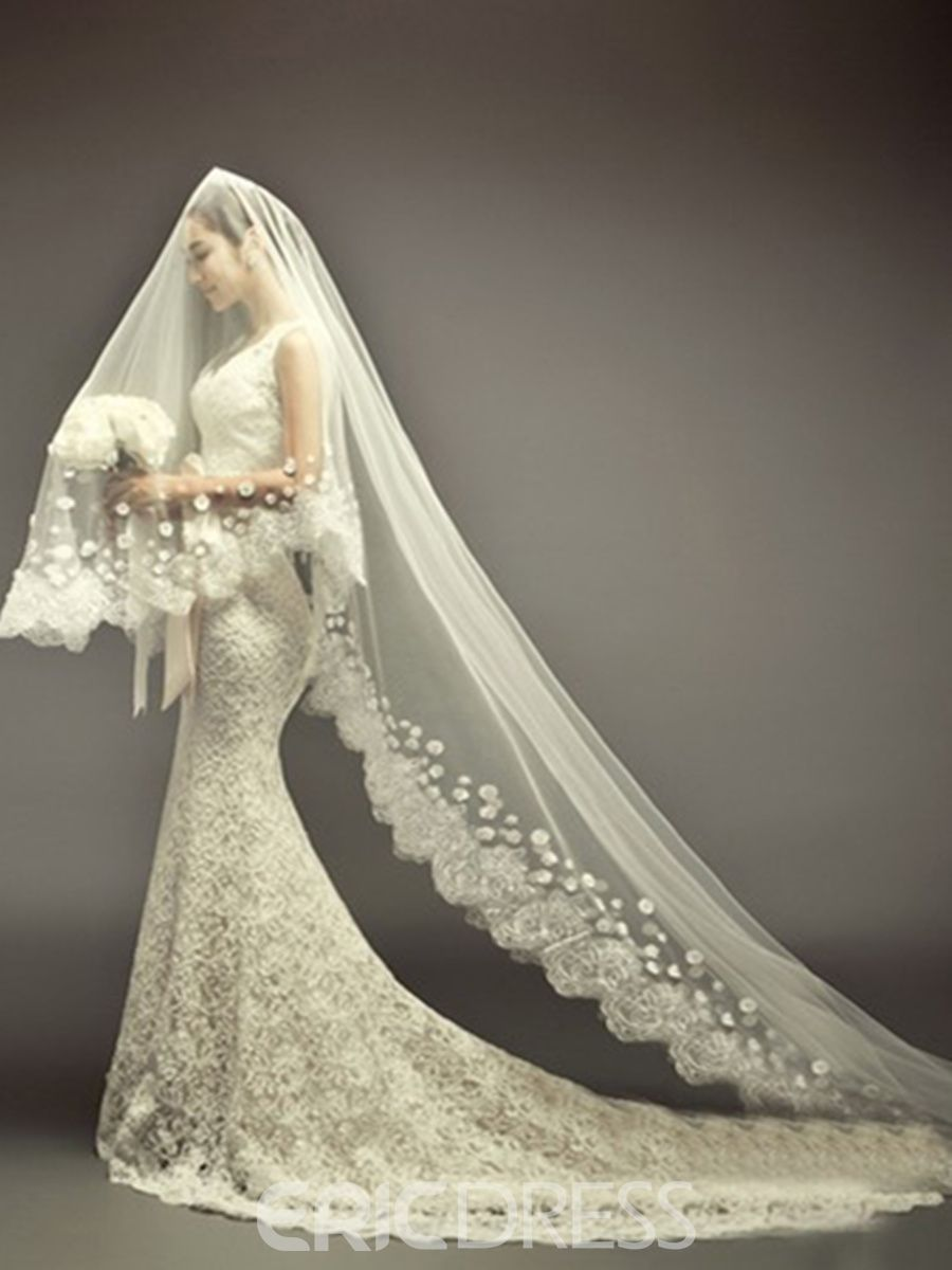 Cathedral Length Ivory Lace Wedding Veil Wedding Veils Lace