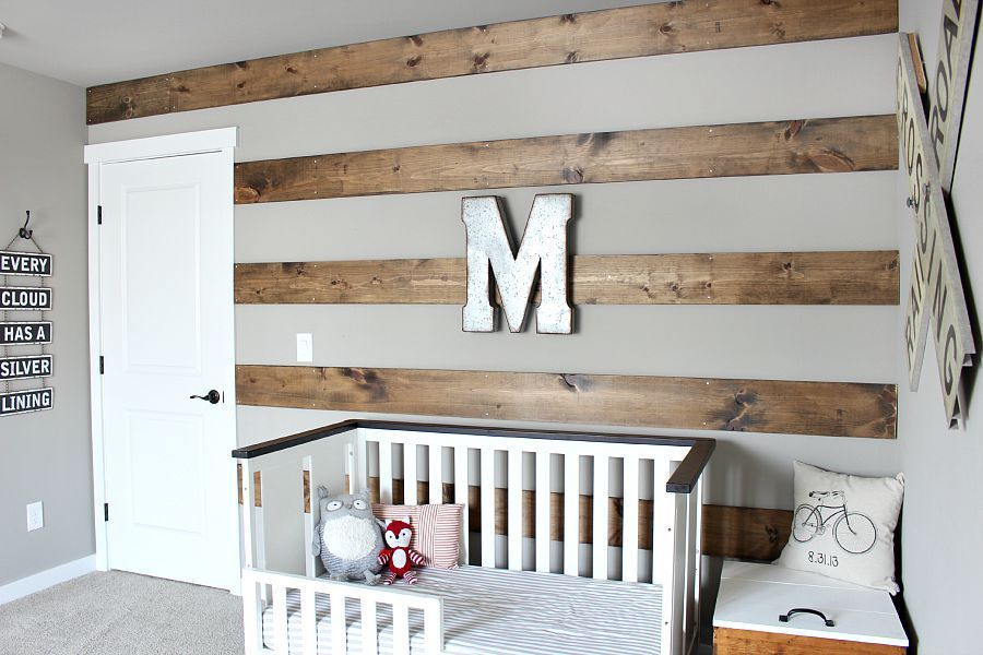 Rustic Toddler Boys Room   Striped walls, Toddler rooms ...