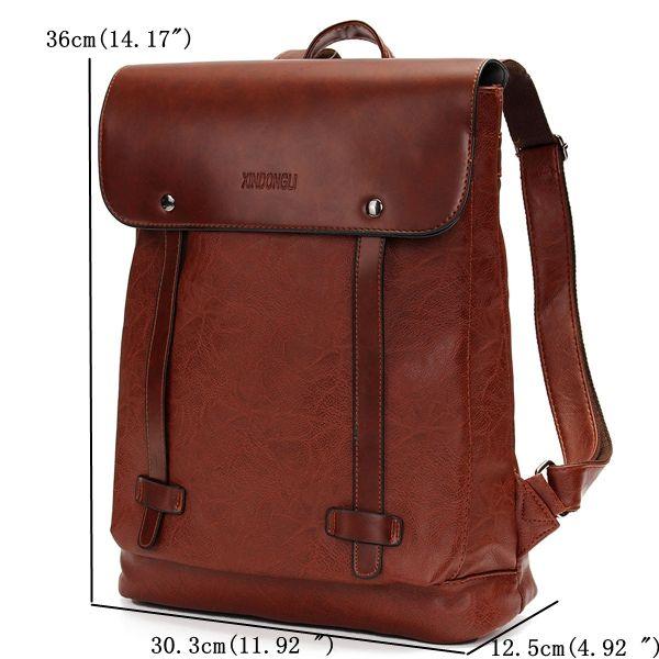 Men Women Vintage Backpack PU Leather Laptop bags School Bag ...