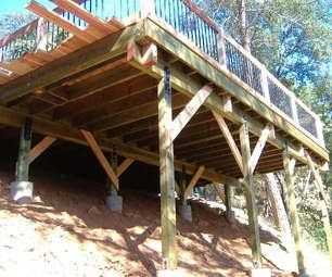 Building A 24 X 20 Deck On Steep Slope Building A Deck Sloped Backyard Deck Building Plans
