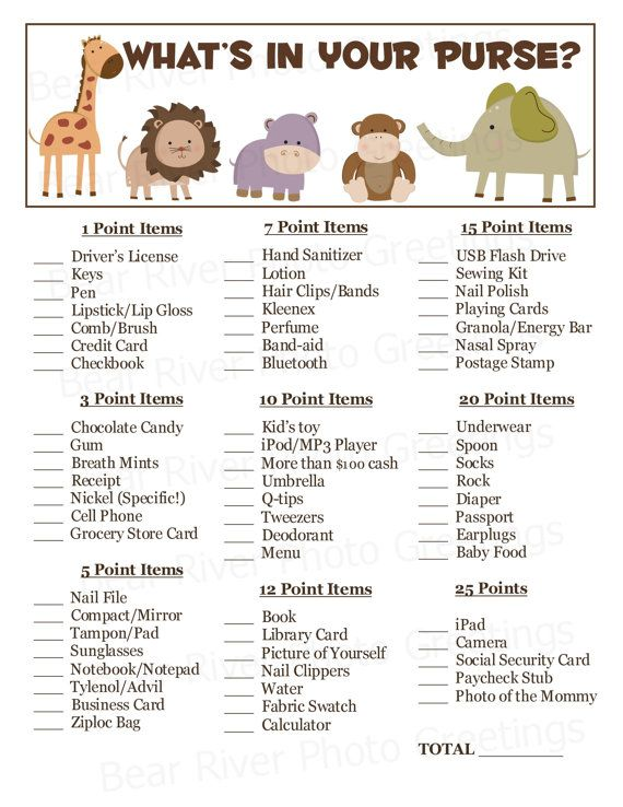 BABY SHOWER GAME PINK JUNGLE THEME X 10 WHAT/'S IN YOUR PURSE