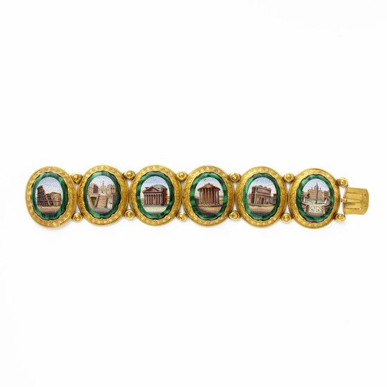 Bracelet with Views of Rome Italy, Rome, circa 1850. Glass micromosaic, malachite, gold