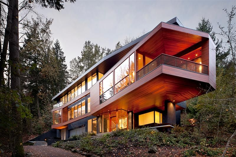 Hoke Residence My Dream Of A House In The Forest Twilight House Contemporary Building Architecture