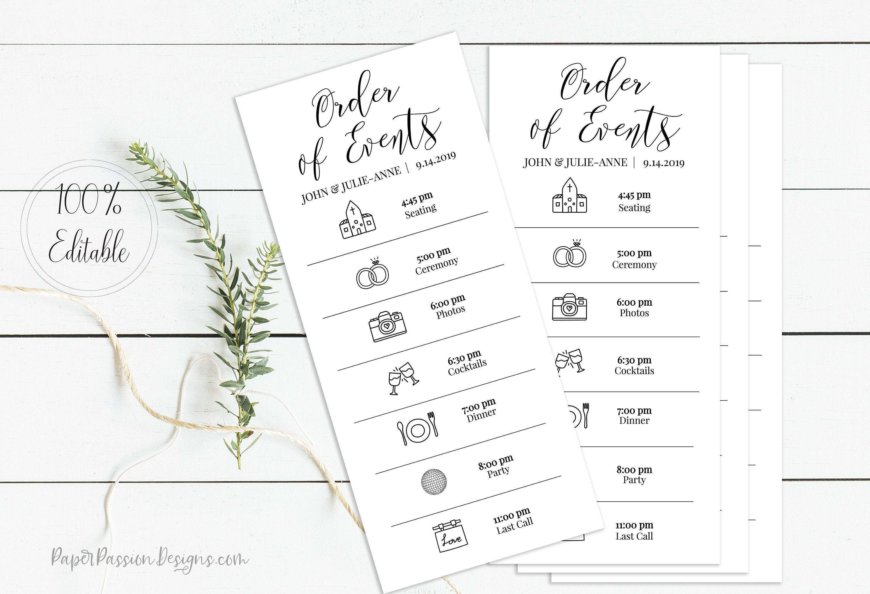 Wedding Order Of Events Card Printable Wedding Day Schedule Etsy Wedding Order Of Events Wedding Order Wedding Day Schedule