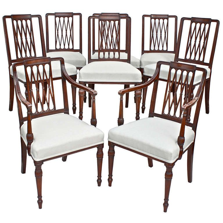 Set Of 8 Sheraton Dining Chairs 1stdibs Com Dining Chairs