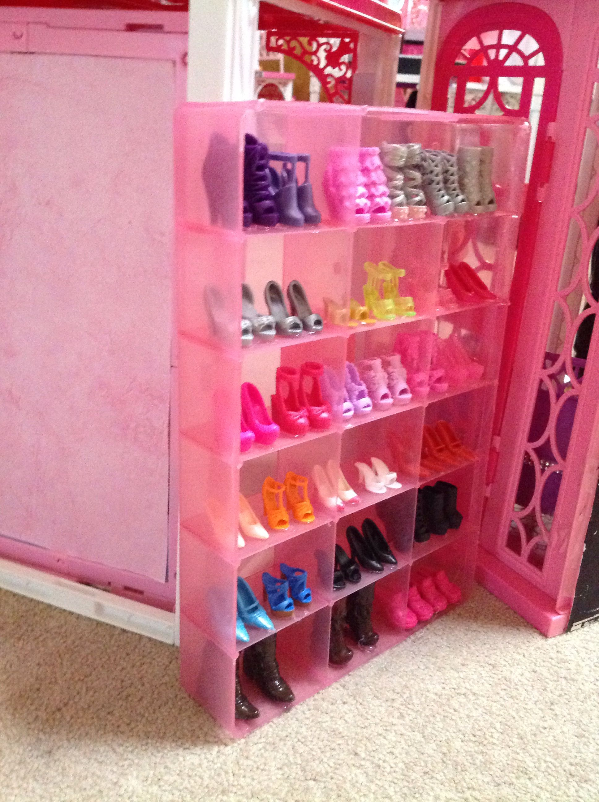 DIY Barbie shoe rack that I made to go in the boutique of