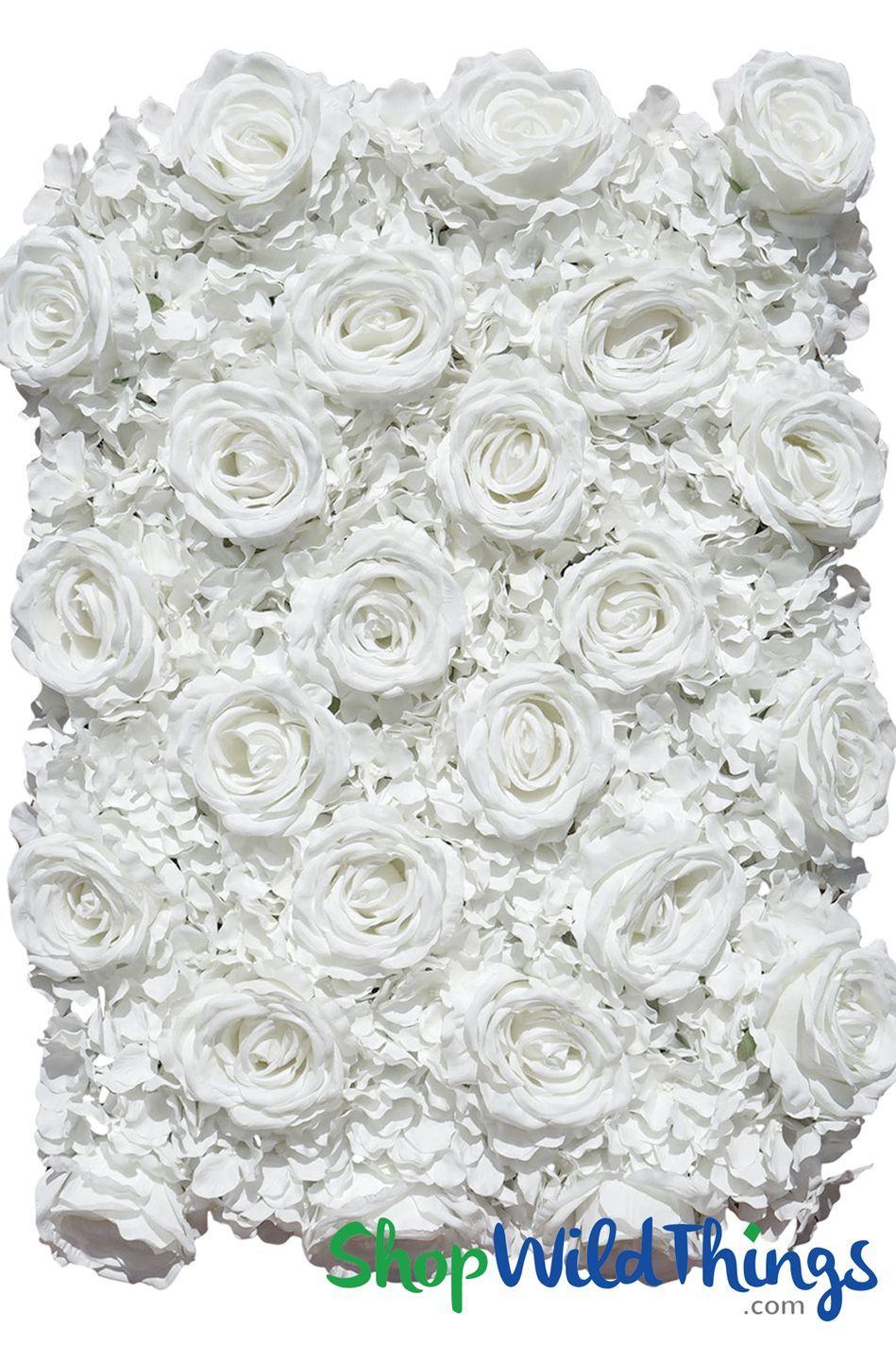 Flower Wall 19 X 25 1 2 Premium Silk Roses Hydrangeas Pure White Flower Wall Wedding Flower Wall Flower Wall Backdrop