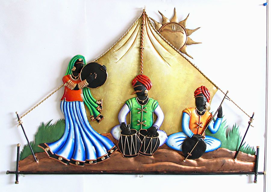 Rajasthani Musicians in the Desert Iron Craft Wall Hanging for