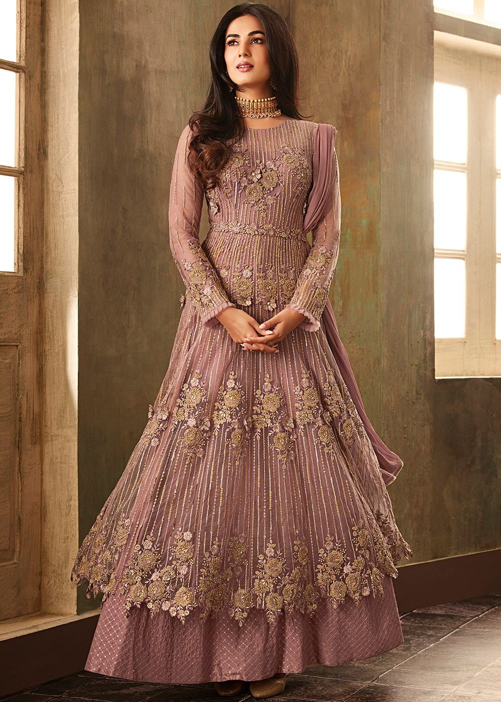 c987b18a823fe Sonal Chauhan Mauve Purple Twin Layered Anarkali Suit in 2019   For ...