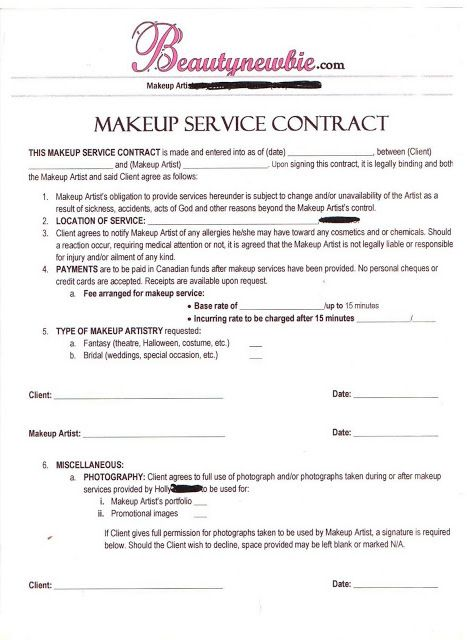 Artist Contract Templates Simple Service Contract Client Service