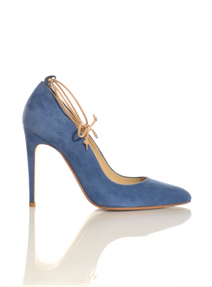 Young British Designers: Alice Blue Suede Pump with Nude Leather Ties by Sophie  Gittins - Very beautiful new pumps in softly lovely blue suede.