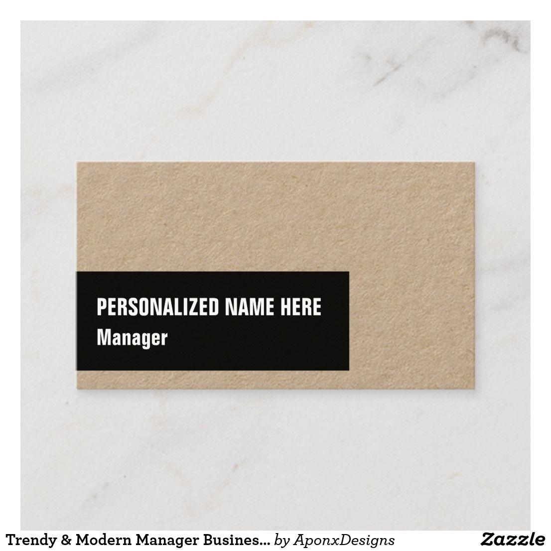 Trendy Modern Manager Business Card Cards Management Visit Carte De