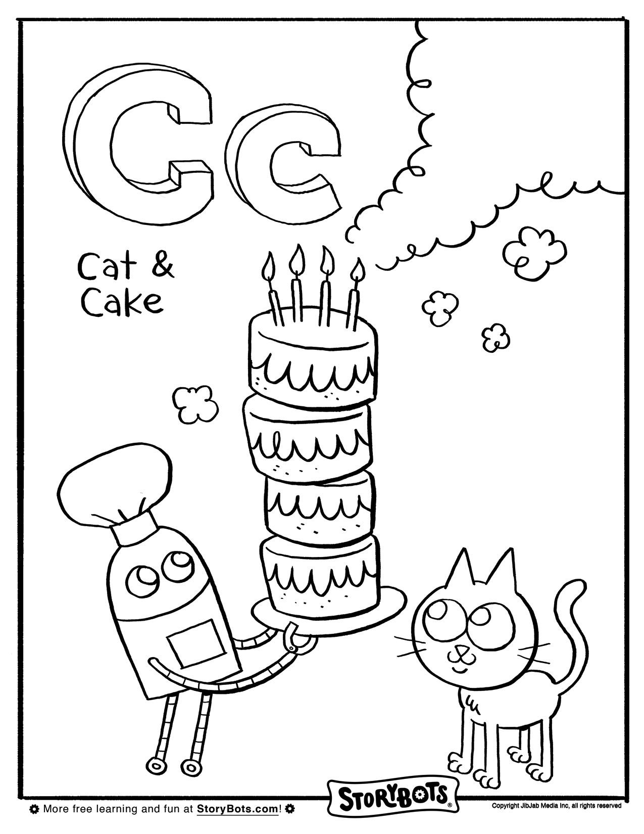 Letter C Coloring Sheet - ABC Activity Sheets - StoryBots | Aa-Dd ...