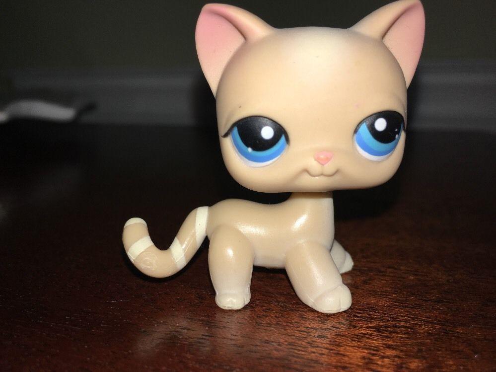 Littlest Pet Shop 228 Beige Cream Striped Tail Short Hair Cat Blue