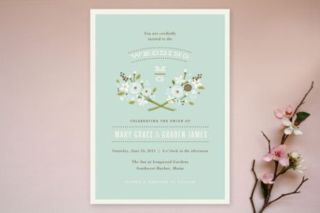 simple mint floral wedding invitations Simple Wedding