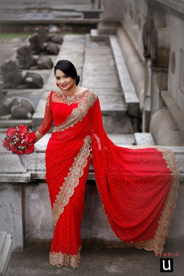 Red Net saree bollywood fête indienne ethnique Mariage Créateur Sari