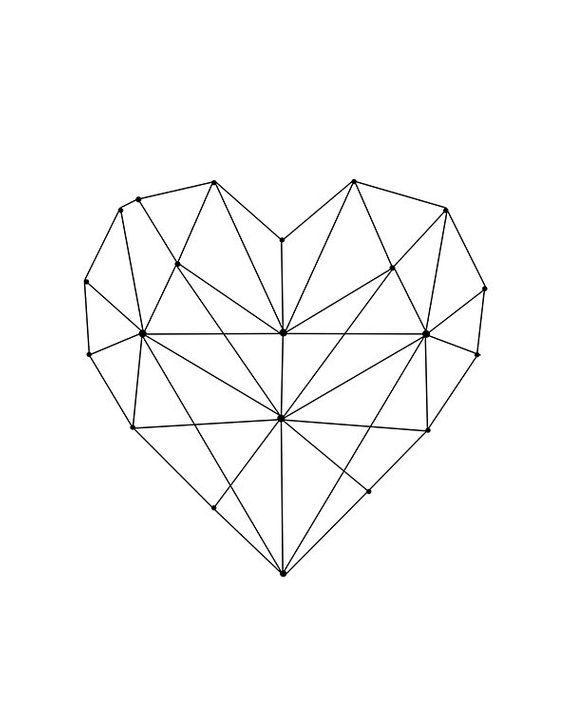 Geometric Heart Printable Wall Art Digital Download Modern
