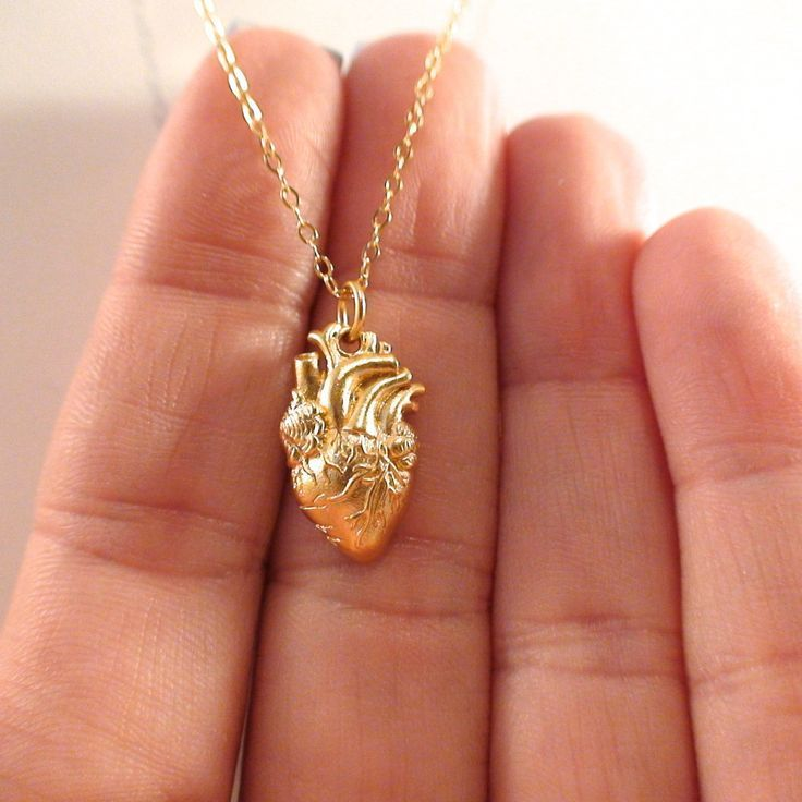 24K Gold Plate Sterling Silver Anatomical Heart Necklace #jewelry