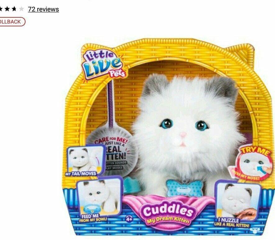 New Little Live Pets My Dream Kitten Cuddles Interactive Toy White Cat Little Live Pets Kitten Cuddle Pets Cuddling