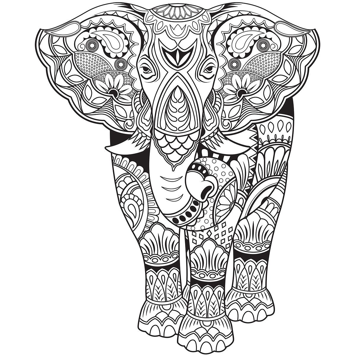 free zentangle elephant coloring pages - photo#8
