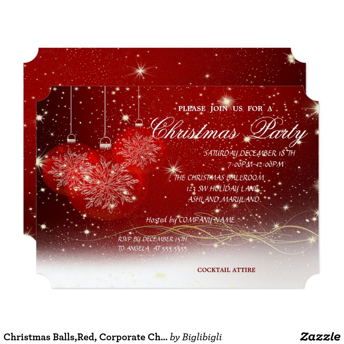 Christmas Balls,Red, Corporate Christmas Party Invitation in 2018 ...