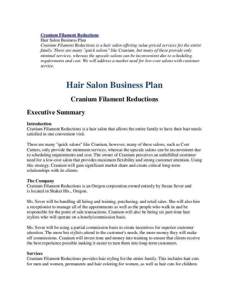 Salon Business Plan Template Free Luxury Business Plan