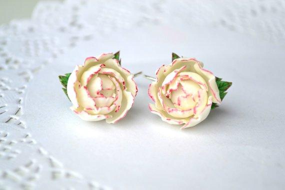 3af3df78e White pink peony peonies flower floral earrings. Wedding bridal brides peonies  earrings jewelry.Poly