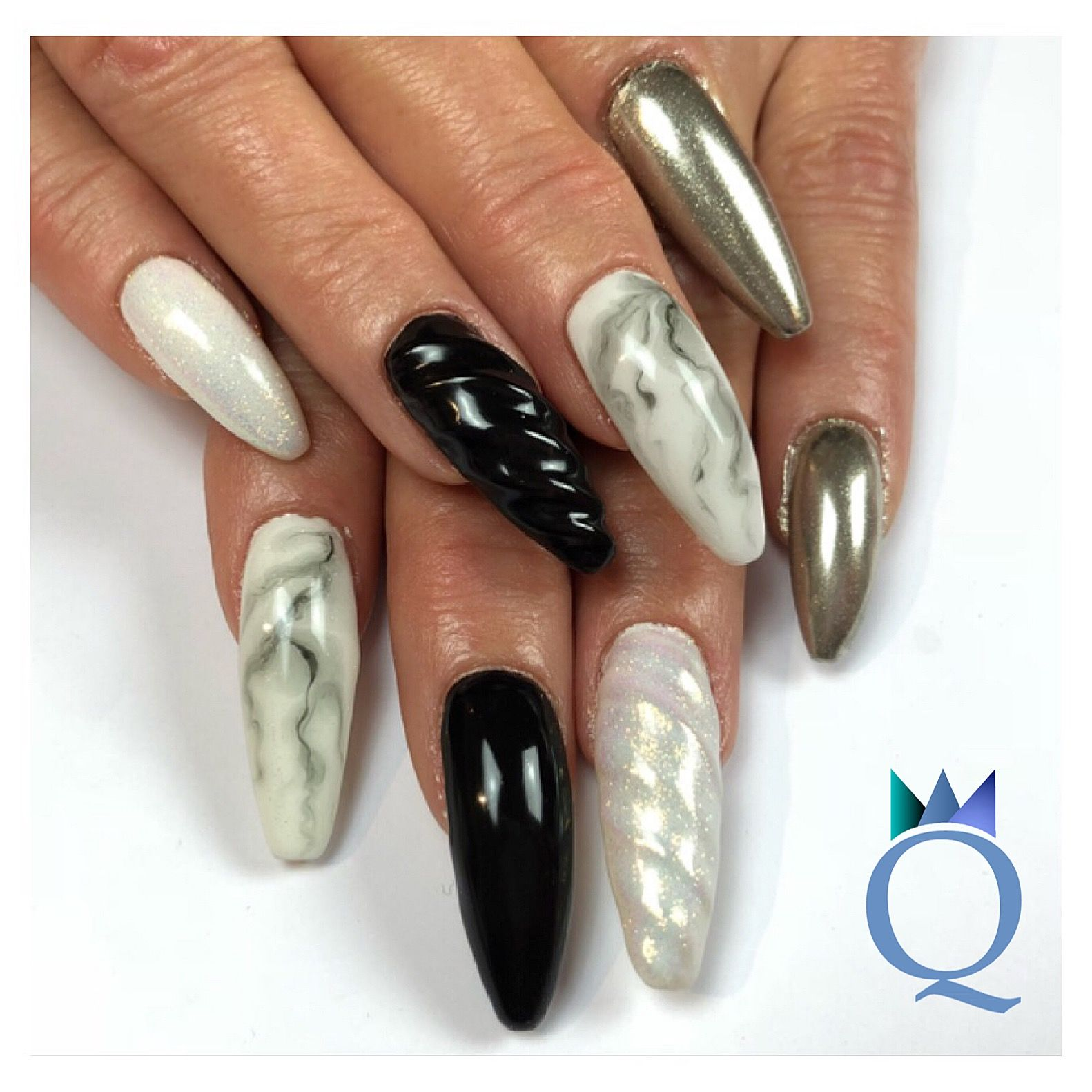 longnails coffinnails gelnails nails blackandwhite mermaidpigment unicornnails chrome. Black Bedroom Furniture Sets. Home Design Ideas