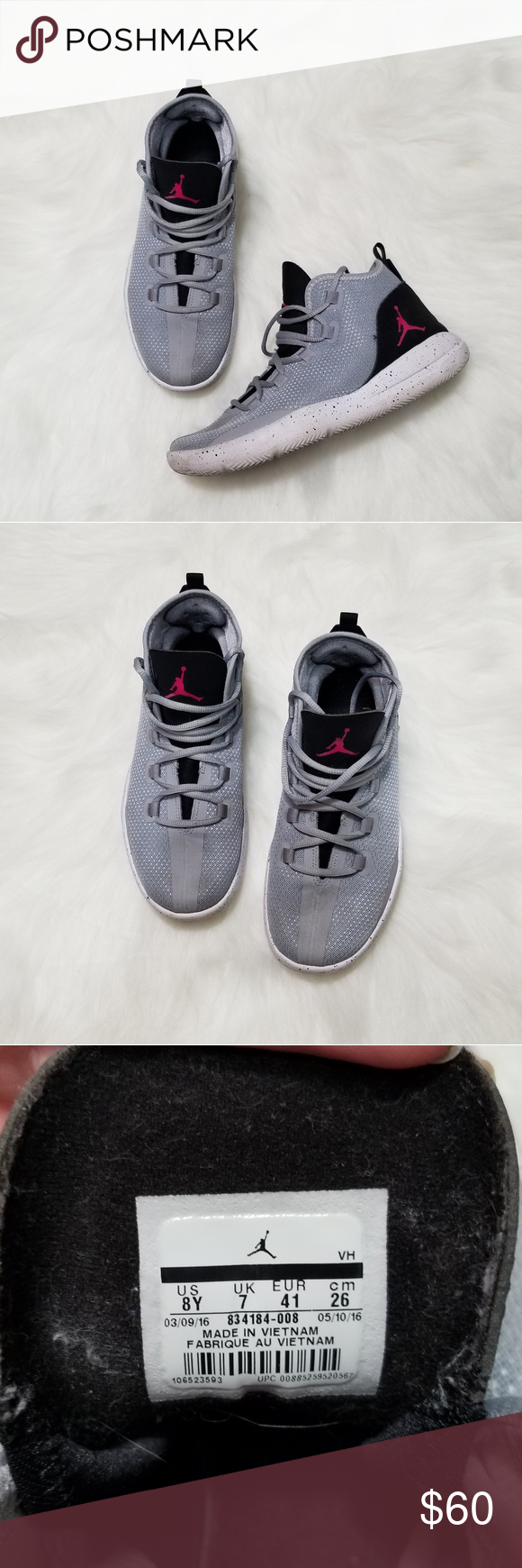 sports shoes 5bfe2 d7d50 Nike Air Jordan Reveal GG shoes Wolf Grey and black with pink Jordan symbol  Gently used One scuff shown in last photo Nike Shoes Sneakers