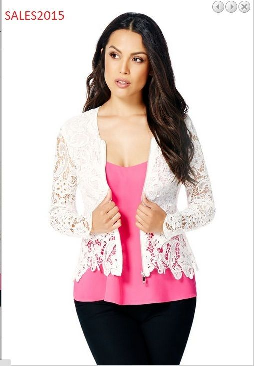 Hot JustFab Brand New Fashion ladies Jackets and Coats Crochet Zip Front JACKET