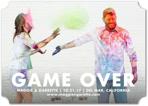 Game Over - Signature White Photo Save the Date Cards - Eleanor Grosch -  White :