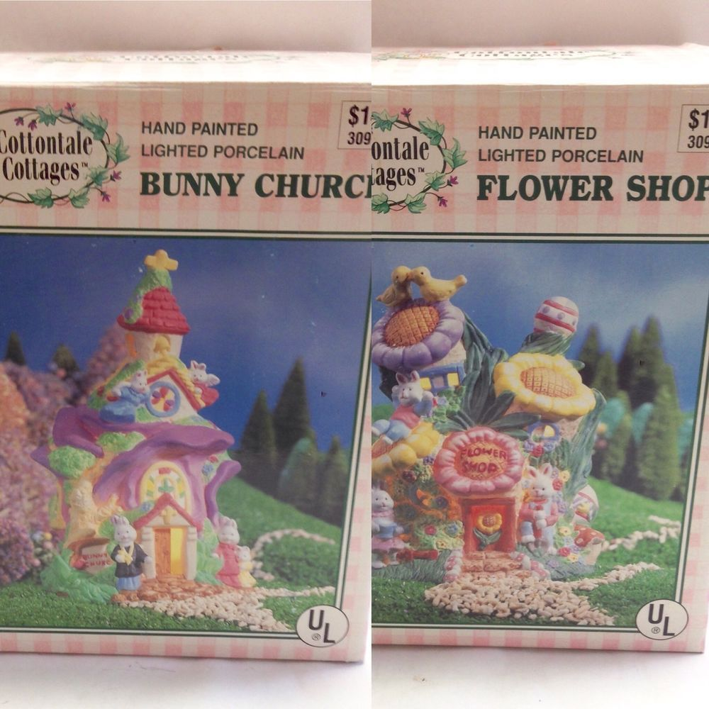 Cottontale cottages 1996 flower shop and bunny church lot