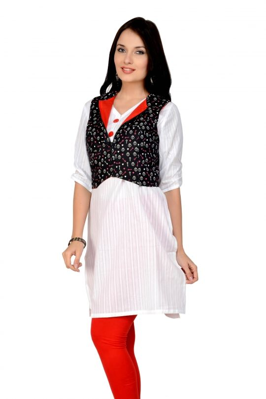 a73418bb6ee42 White kurti with printed waist jacket online shopping India