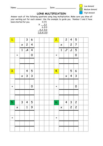 Long Multiplication  Multiplication Math And Worksheets