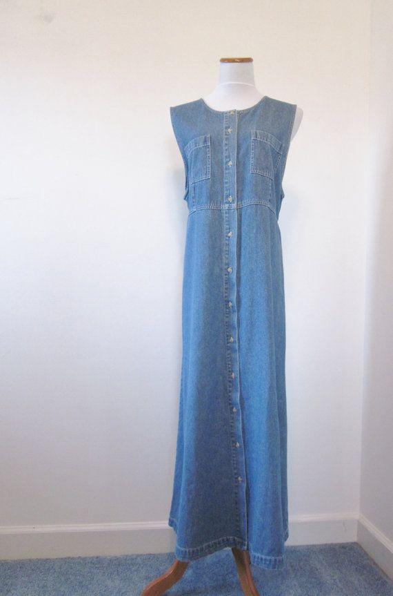Vintage Denim Maxi Dress Long Denim Dress By Marjoriesmemories 34 00 Womens Denim Dress Maxi Dress Long Denim Dress