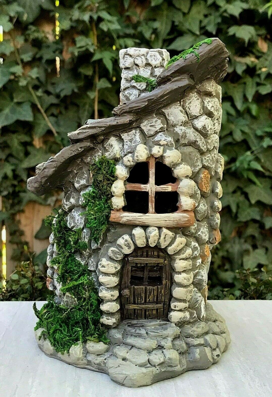 Miniature Dollhouse FAIRY GARDEN Figurine ~ Stone Look Cottage House with Moss