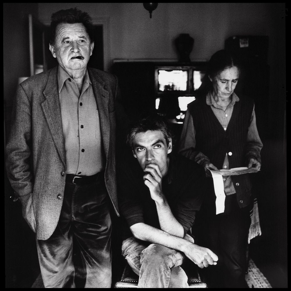 Jean-Marie Straub, Danièle Huillet and Pedro Costa on the set of Where does your hidden smile lie?, 2001. Photograph: Richard Dumas