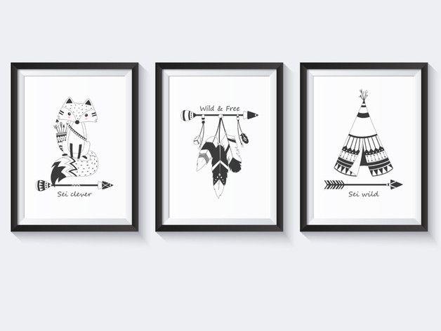 Bilderset / Kinderzimmer Poster schwarz weiß / Indianer