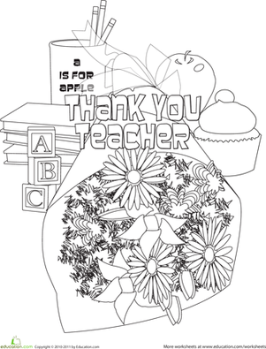 Thank You Teacher Printable Crafts Coloring Pages