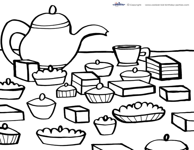 printable tea party coloring pages - printable tea party coloring page 5 coolest free