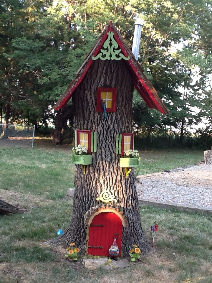 gnome house with leaf blower part for chimney and funnel for top outdoors garten elfen. Black Bedroom Furniture Sets. Home Design Ideas