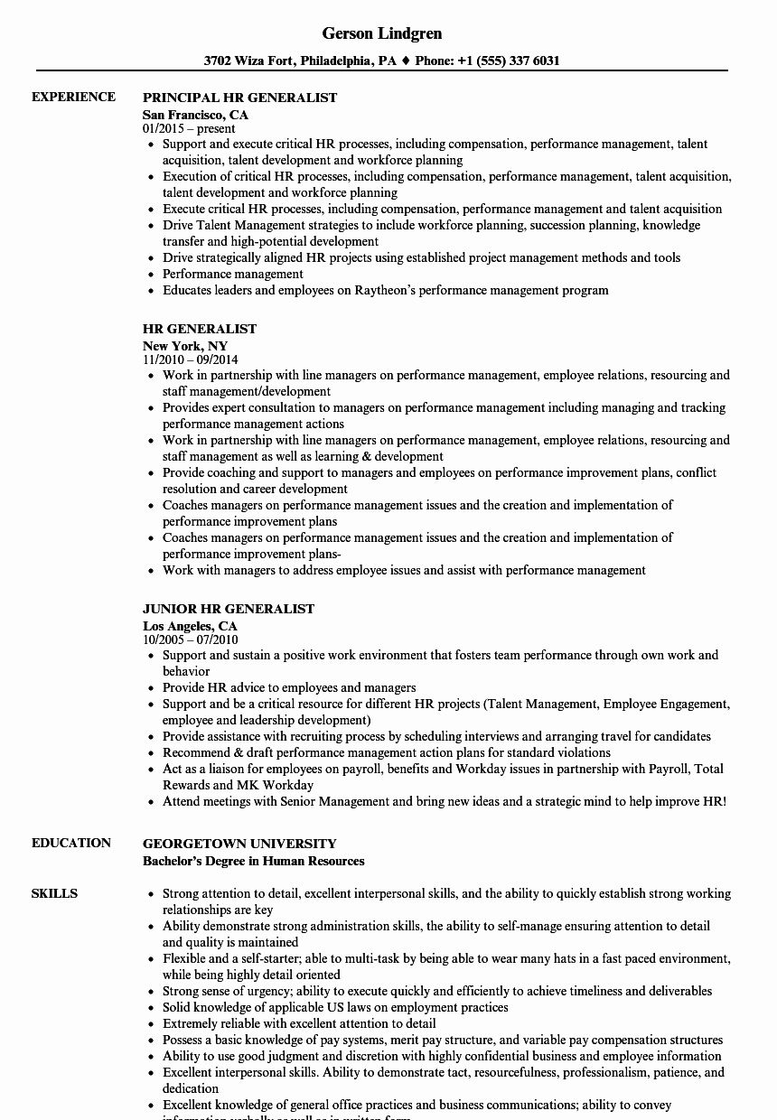 Human Resource Generalist Resume Lovely Hr Generalist Resume Examples Job Resume Samples Human Resources Resume Project Manager Resume