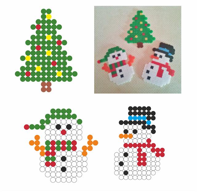 Patrones para hacer adornos con hama beads para Navidad Hama beads