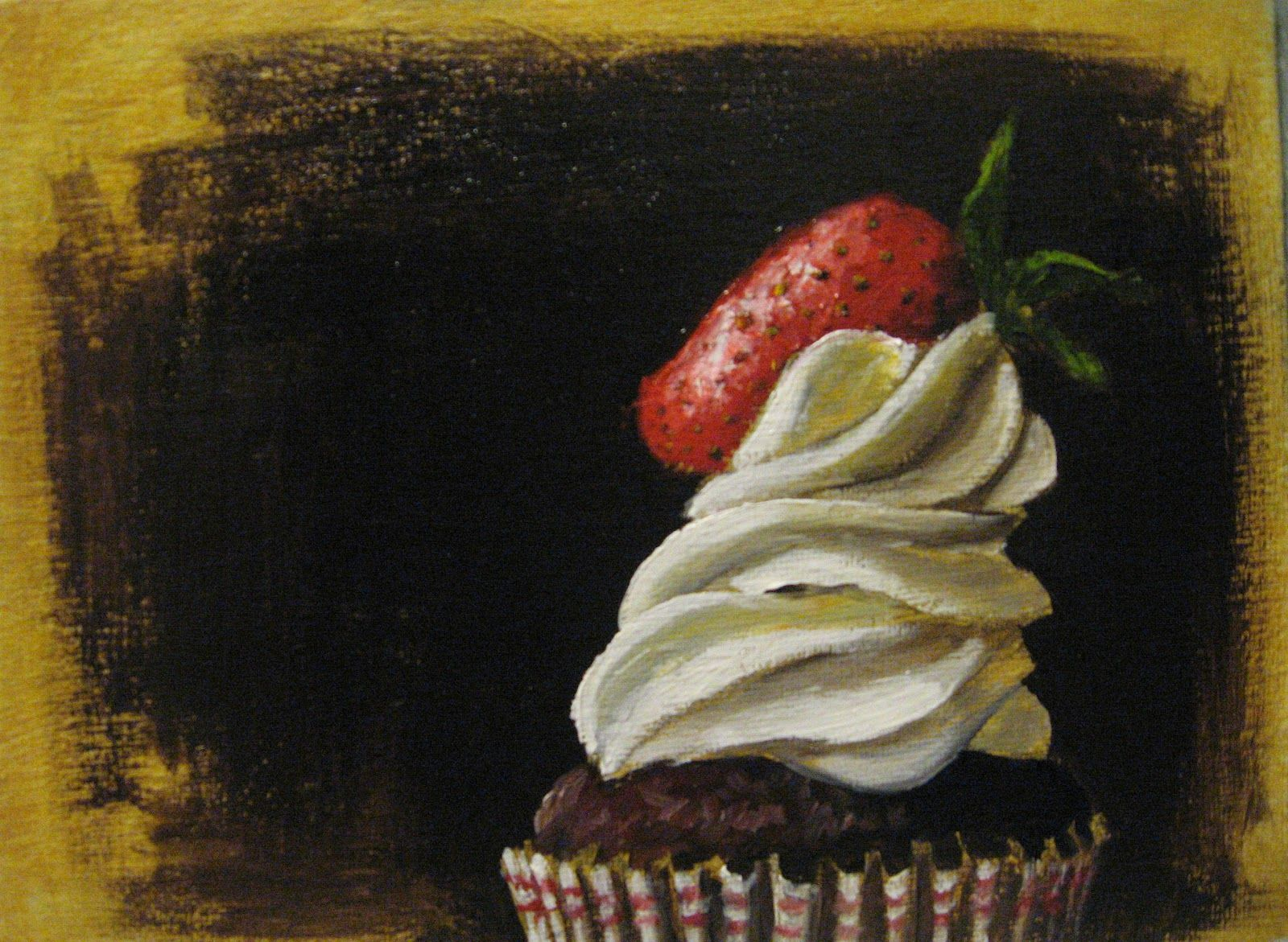 One Painting a Day: Chocolate Cupcake and Strawberry