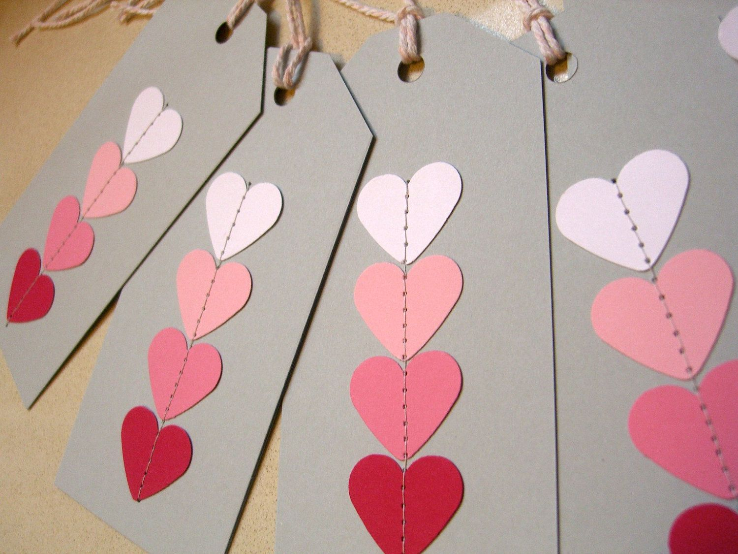 Gift Tag on Cardstock - Ombre Pink Stitch my heart, swing tag, hang ...