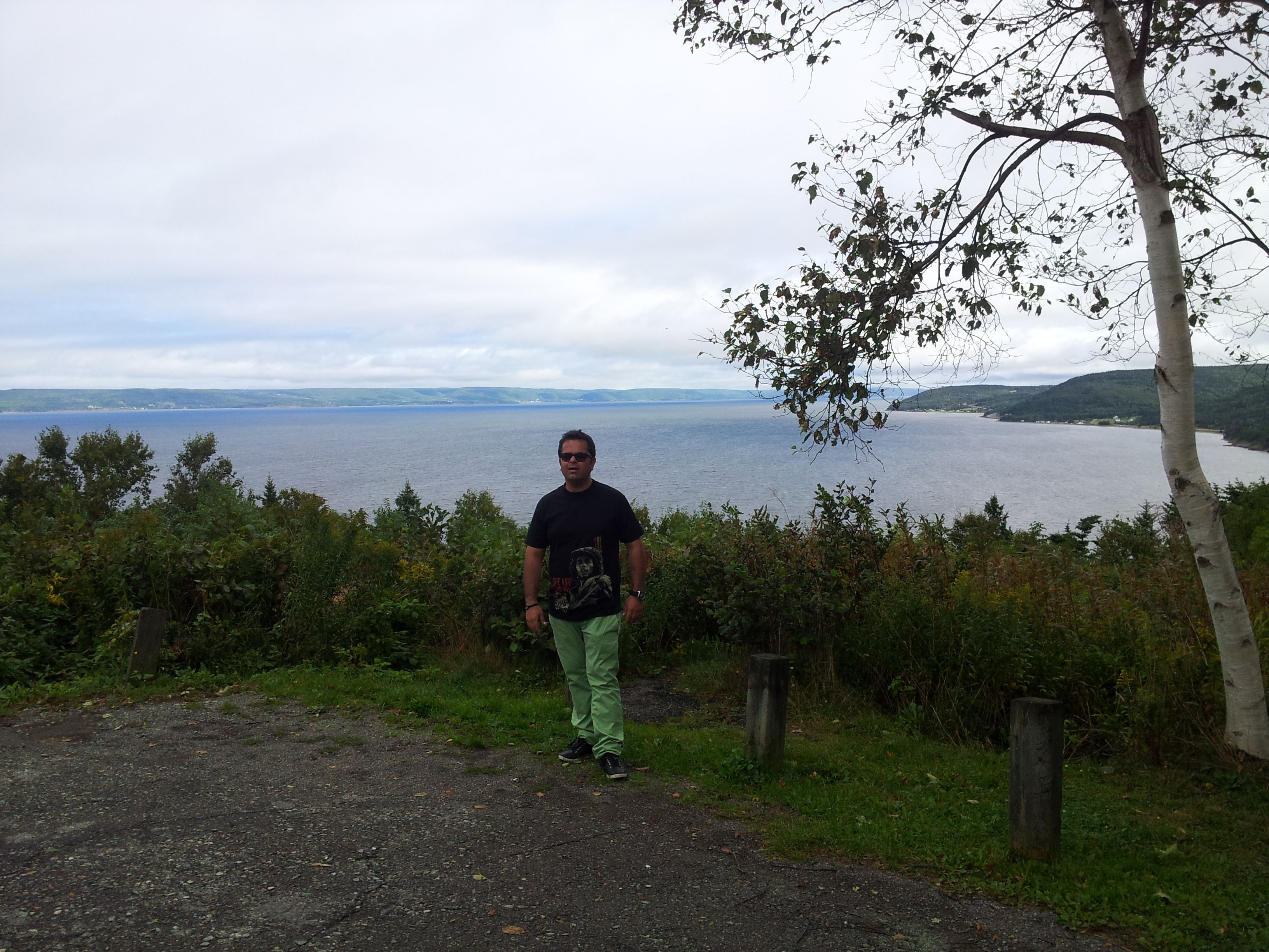 Çhef Vicky looking out over the Bras d'Or Lakes, #CapeBreton #Island #NovaScotia