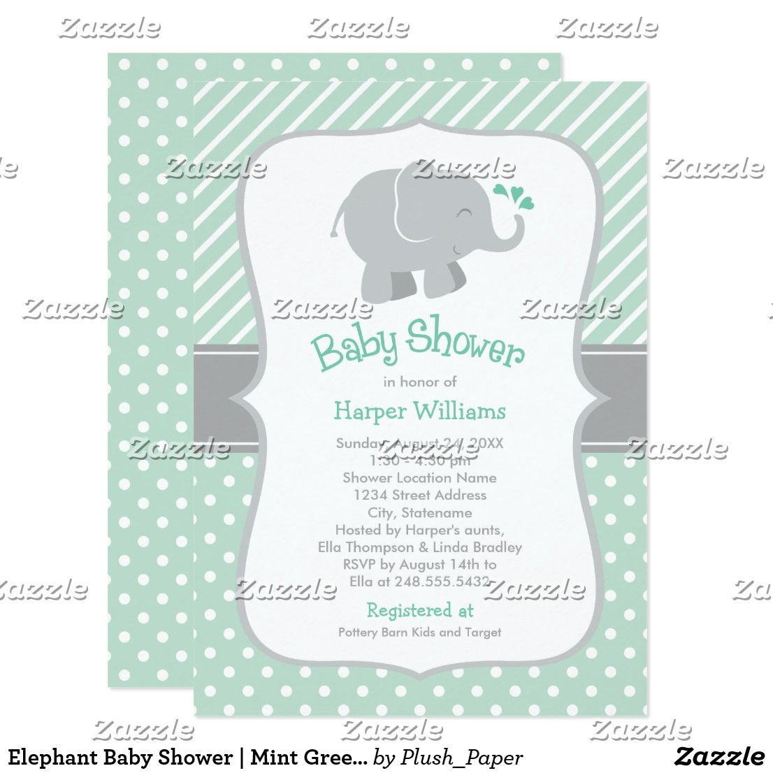 Elephant Baby Shower Invitations Mint Green In 2018 Babies And