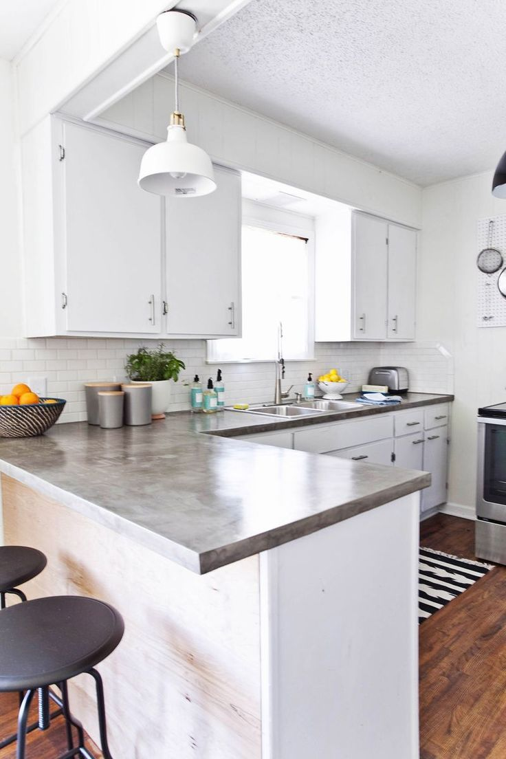 Love These Polished Concrete Countertops. They Look Great With The White  Cabinets!