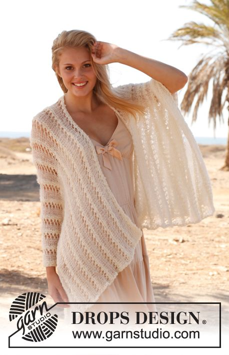 Knitted DROPS poncho worked sideways with textured pattern in ...